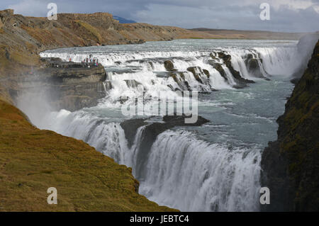 The spectacular two-tier Gullfoss Waterfall also known as Golden Falls, in South Iceland - Stock Photo