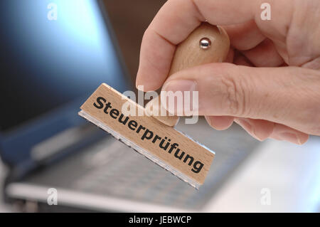 Tax audit, stamp, tax office, steering wheel, tax return, income tax, audit, steering wheel search, audit of operating - Stock Photo