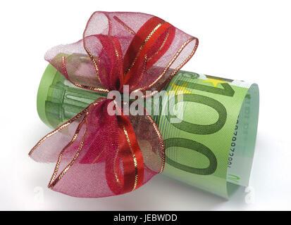Gift of money, loop, 100, bank note, cash, bonus, Einhundert - euros, incomes, income, eurolight, finances, red, - Stock Photo