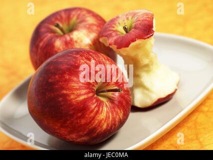 Apples, royal gala, Malus domestica, fruit, core, plate, - Stock Photo