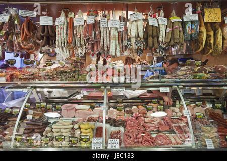 Spain, Barcelona, Mercat de la Boqueria, butcher's shop, expense, products, - Stock Photo