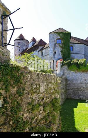 Germany, Bavaria, Burghausen, castle, outside, stone defensive wall, lock court, castle court, Europe, Bavaria, - Stock Photo