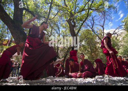 Young monks with the everyday discussion hour in the saga temple, Lhasa, Tibet, Asia, - Stock Photo