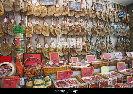 Spain, Barcelona, butcher's shop, expense, products, - Stock Photo