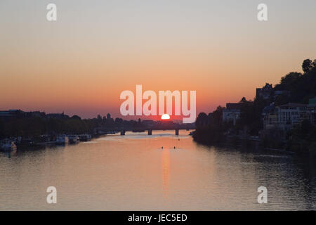 The Neckar near Heidelberg, Europe, Germany, Baden-Wurttemberg, Baden Rhine level, Kurpfalz, Rhine Neckar area, - Stock Photo