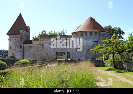 Germany, Bavaria, Burghausen, castle, outside, castle court, Europe, Upper Bavaria, Europe, tower, castle court, - Stock Photo