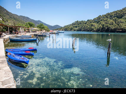 The little fishing village of Soline at the entrance to the Jezero lakes in Mljet National Park Croatia - Stock Photo