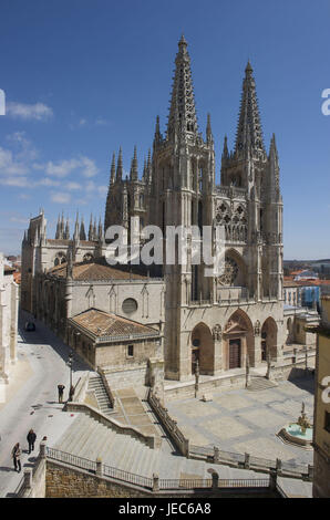 Spain, Castile and Leon, Burgos, cathedral and the plaza de Santa Maria, - Stock Photo