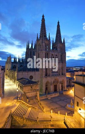 Spain, Castile and Leon, Burgos at night, cathedral and plaza de Santa Maria, - Stock Photo