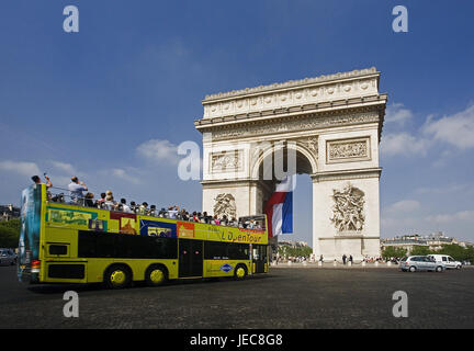France, Paris, town overview, Arc de Triomphe, street scene, sightseeing bus, capital, town, houses, buildings, - Stock Photo