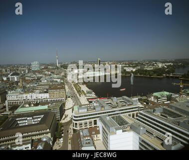 Germany, Hamburg, town overview, Jungfernstieg, the Inner Alster, North Germany, city, Hanseatic town, port, town, - Stock Photo