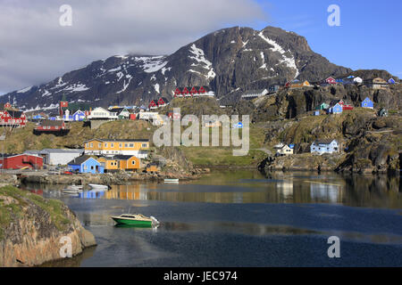 Greenland, Sisimiut, town view, timber houses, bay, boats, Western Greenland, town, destination, building, architecture, - Stock Photo