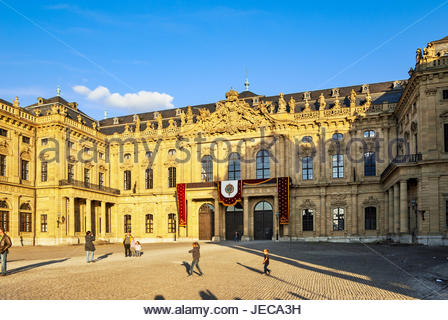 The Residenz in Würzburg is decorated in preparation for filming the 2011 movie, The Three Musketeers. - Stock Photo