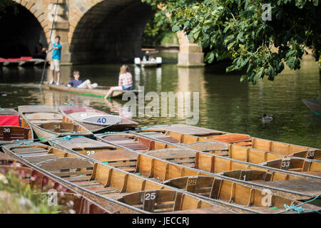 Boating In Punts On River Cherwell In Oxford - Stock Photo