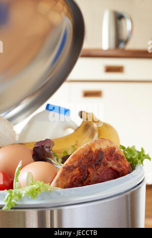Fresh Food In Garbage Can To Illustrate Waste - Stock Photo