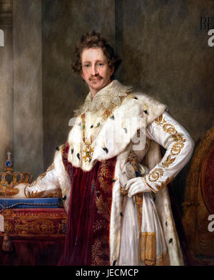 King Ludwig I (1786-1868), King of Bavaria from 1825 to 1848. Coronation portrait by Joseph Stieler, 1825 - Stock Photo