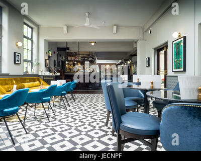 Dining room and Bar at Browns Restaurant in Cambridge UK - Stock Photo