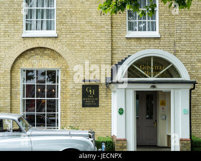 A vintage Bentley outside the Luxury Gonville Hotel in Cambridge UK - Stock Photo