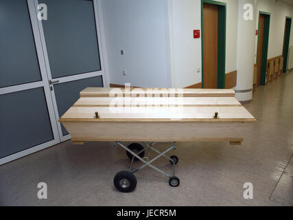 Hospital, pathological-anatomical department, Prosektur, hall, rolling carriage, coffin, overpass, medicine, hospital - Stock Photo