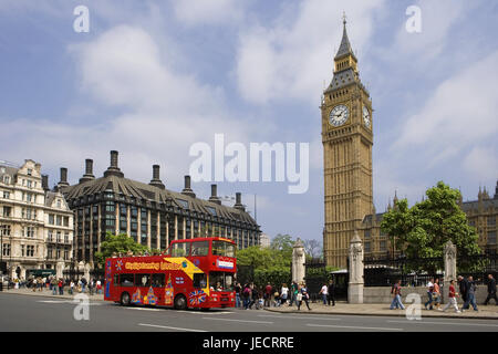Great Britain, England, London, Houses of Parliament, Big Ben, street scene, pedestrian, capital, town, parliament - Stock Photo