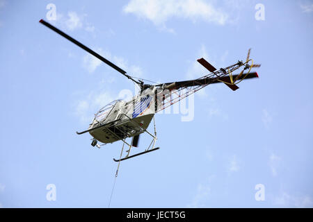 Cloudy skies, costs helicopters, from below, helicopter, helicopter, fly, helicopter flight, costs, transport, transport - Stock Photo