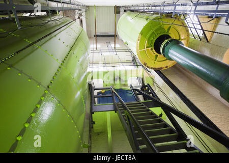 England, London, Tower Bridge, engine room, battery for storage of the hydraulic capacity, architecture, machine, - Stock Photo