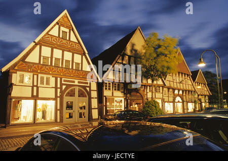 Germany, North Rhine-Westphalia, Rheda-Wiedenbrück, Long street, half-timbered houses, evening, district of Wiedenbrück, - Stock Photo