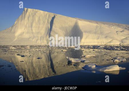 Greenland, Disco Bay, Ilulissat, fjord, icebergs, detail, Western Greenland, ice, glacier, the Arctic, summer, mirroring, - Stock Photo