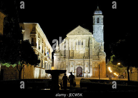 Spain, Andalusia, Ubeda, Sacra Capilla del Salvador at night, - Stock Photo