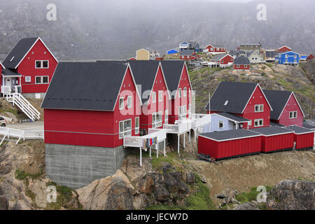Greenland, Sisimiut, town view, timber houses, Western Greenland, town, destination, building, architecture, houses, - Stock Photo