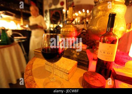 Portugal, Lisbon, Old Town, Alfama, restaurant, wine, - Stock Photo