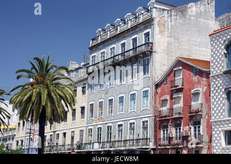 Portugal, Lisbon, Old Town, Alfama, real estate, house facades, - Stock Photo