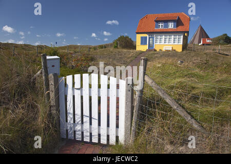 House in the dunes, island Spiekeroog, the East Frisians, East Friesland, Friesland, Lower Saxony, the North Sea, - Stock Photo