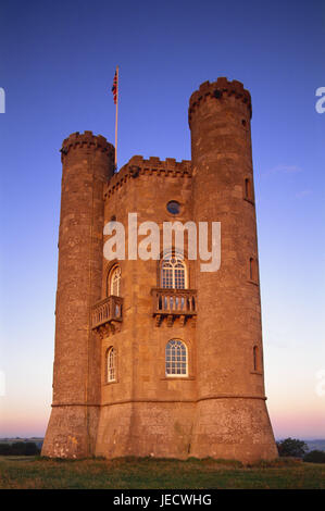 Great Britain, England, Worcestershire, Cotswolds, Broadway Tower, evening light, Europe, destination, place of - Stock Photo