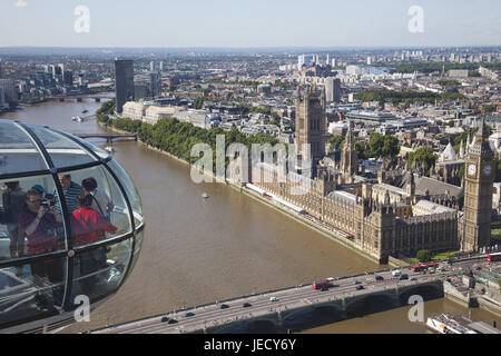 England, London, Westminster, Palace of Westminster, Big Ben, the Thames, view of London Eye, town view, town, parliament, - Stock Photo