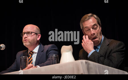 Victoria Hall, Bagnall St, Hanley, Stoke-on-Trent, ST1 3AD, UK. 6th February 2017. Paul Nuttall and Nigel Farage - Stock Photo
