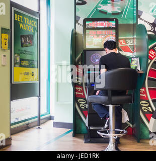 Man using Roulette gaming machine (FOBT fixed odds betting terminal) in Bookmakers in England, UK - Stock Photo