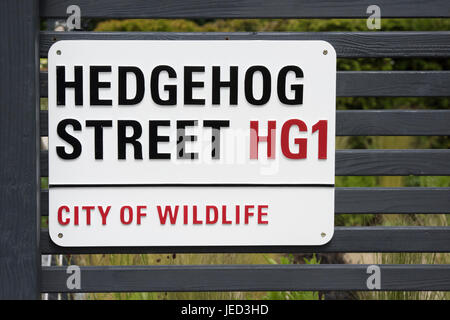 Hedgehog street sign on a small display garden fence in RHS Harlow Carr gardens, Harrogate. UK - Stock Photo