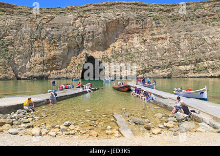The Inland Sea tourist attraction, Dwerja Bay, island of Gozo, Malta - Stock Photo