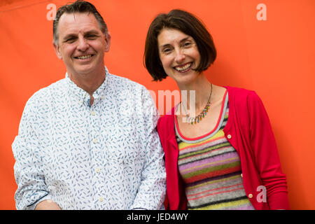 Catherine Barr and Steve Williams, science writers for children,  at the 2017 Hay Festival of Literature and the - Stock Photo