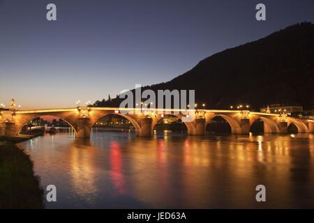 View at Heidelberg, Europe, Germany, Baden-Wurttemberg, Baden Rhine level, Kurpfalz, Rhine Neckar area, the Neckar, - Stock Photo