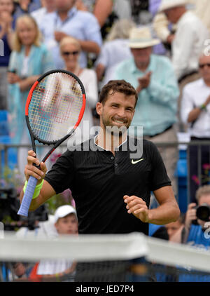 Aegon Tennis Championships Queens Club London, UK. 23rd June, 2017. Grigor Dimitrov BUL vs Daniil Medvedev RUS Dimirov - Stock Photo