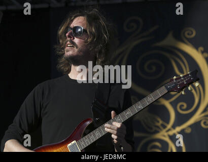 Swedish heavy metal band Opeth members perform on stage during the second day of the Download Music Festival at - Stock Photo