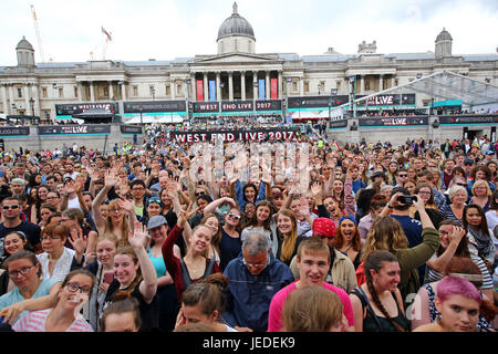 London, UK. 24th June 2017. Crowds watching West End Live theatre showcase, Trafalgar Square, London, Credit: Paul - Stock Photo