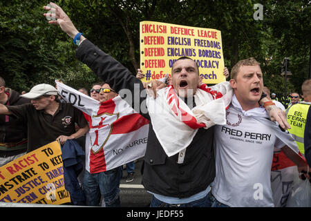 London, UK. 24th June, 2017. Far-Right British nationalist group the English Defence League (EDL) march and rally - Stock Photo