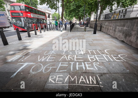 London, UK. 24th June, 2017. Pro-Remain/Anti-Brexit chalking message is chalked on the pavement opposite Downing - Stock Photo