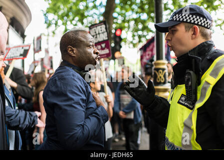 London, UK, 24th June 2017. Unite Against Fascism (UAF) has organized a demonstration near Trafalgar Square against the English Defence League (EDL). Due to recent terrorist attacks, there's a heavy police presence. Credit: onebluelight.com/Alamy Live News