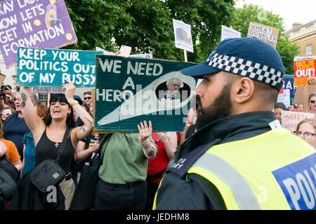 Protesters with a banners at Womens march against the UDP deal. London, UK. 24/06/2017 | usage worldwide - Stock Photo