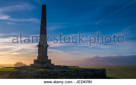 Hilltop monument, Blaikie Heugh escarpment, to James Maitland Balfour, MP for Haddington, East Lothian, Scotland, - Stock Photo