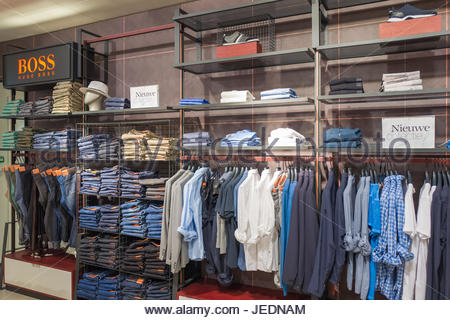 NETHERLANDS - THE HAGUE - JUNE 23, 2017: Store from De Bijenkorf chain in the center of The Hague, Netherlands. - Stock Photo